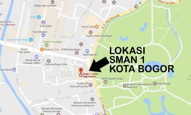 peta lokasi alamat SMA Negeri 1 Kota Bogor